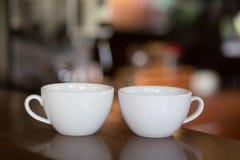 Vita kopp kaffevänner Fotografering för Bildbyråer