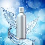 Vita kosmetiska produkter med vattenf?rgst?nk p? cyan bakgrund arkivbild