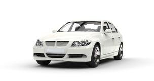 Vita kraftiga bil- Front View Royaltyfria Foton