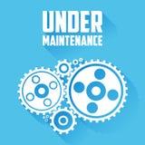 Vita kugghjul på en blå bakgrund Under meddelande för underhållswebsitesida Plan stil med långa skuggor stock illustrationer