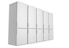 Vita kylskåp Fotografering för Bildbyråer