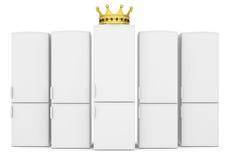 Vita kylskåp och guld- krona Fotografering för Bildbyråer