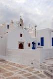 vita kyrkliga mykonos Arkivbild