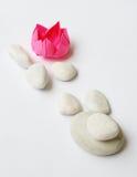 vita lotusblommaorigamipebbles royaltyfria bilder