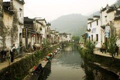 vita lungo il fiume, scena della campagna in Cina Fotografia Stock