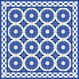 Vita marockanska, portugistegelplattor för ursnygg sömlös modell för turk, och gräns, Azulejo, arabisk prydnad vektor illustrationer