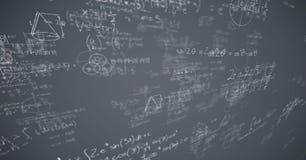 Vita matematikklotter och grå bakgrund Fotografering för Bildbyråer