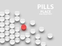 Vita medicinska preventivpillerar på vit bakgrund begrepp av vaccinen stock illustrationer