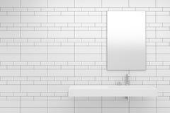 vita moderna tegelplattor för badrum royaltyfri illustrationer