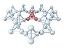 vita molekylära röda strukturer Arkivbild