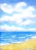 Vita moln i den blåa himlen över havet surfar royaltyfri illustrationer