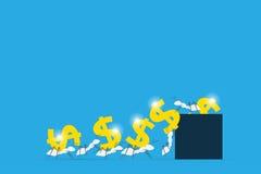 Vita myror som bär dollarsymboler in i mörker - blå ask, teamwork och affärsidé Royaltyfri Foto