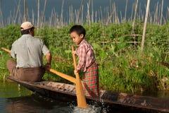 Vita nel lago Inle, Myanmar Immagini Stock Libere da Diritti