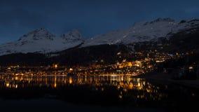 Vita notturna di St Moritz Fotografia Stock Libera da Diritti