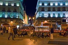 Vita notturna en di Madrid för centro för nel för `-Puerta del Sol ` Royaltyfri Fotografi