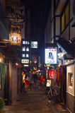 Vita notturna sulla via di Osaka City con i negozi, le barre ed i ristoranti decorati con le insegne al neon alla notte Immagini Stock