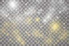 Vita och guld- gnistor och stjärnor blänker special ljus effekt Vektorn mousserar på genomskinlig bakgrund Jul vektor illustrationer