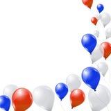 Vita och röda ballonger för blått, på vit bakgrund Arkivfoton