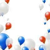 Vita och röda ballonger för blått, på vit bakgrund Royaltyfria Foton