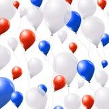 Vita och röda ballonger för blått, på vit bakgrund Royaltyfri Fotografi