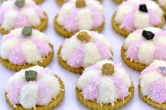 Vita och rosa kokosnötkakor Arkivbild