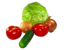 vita olika isolerade set grönsaker Arkivfoto