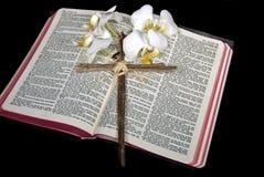 Vita orkidér med korset på bibeln Arkivfoto