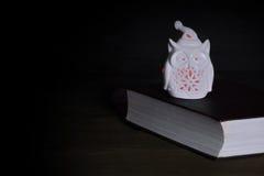 Vita Owl Statuette Nightlight With Red ljus på den gamla boken arkivbilder