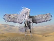 Vita Pegasus i öken vektor illustrationer