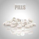 vita pills Runda preventivpillerar Vektorpreventivpillerar också vektor för coreldrawillustration Royaltyfri Bild