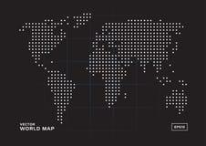 Vita prickar för världskarta med svart bakgrund royaltyfri illustrationer