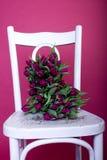 vita purpura tulpan för bukettstol Arkivfoton