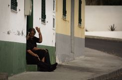 Vita quotidiana nella piccola città su sao Miguel, Azzorre, Portogallo immagine stock