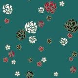 Vita, röda och svarta rosor för abstrakt konst som diamantbroschen på turkosbakgrund royaltyfri illustrationer