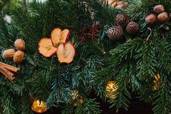 vita röda stjärnor för abstrakt för bakgrundsjul mörk för garnering modell för design Julbegreppsberöm Julgran-träd med garnering Arkivfoto