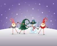 vita röda stjärnor för abstrakt för bakgrundsjul mörk för garnering modell för design Lyckliga vänner tre gnomer och snögubben fi vektor illustrationer