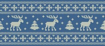 vita röda stjärnor för abstrakt för bakgrundsjul mörk för garnering modell för design Stucken modell med deers och granträd seaml royaltyfri illustrationer