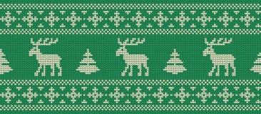 vita röda stjärnor för abstrakt för bakgrundsjul mörk för garnering modell för design Stucken modell med deers på en grön bakgrun stock illustrationer
