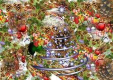 vita röda stjärnor för abstrakt för bakgrundsjul mörk för garnering modell för design Virveln av festliga gåvor, leksaker, klumpa Royaltyfri Fotografi