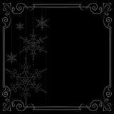vita röda stjärnor för abstrakt för bakgrundsjul mörk för garnering modell för design Vektorram som dekoreras med snöflingor Royaltyfri Bild