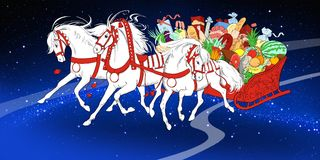 Vita rinnande hästar med pulkan av mat Royaltyfri Bild