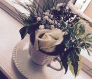 Vita Rose In en tekopp Royaltyfria Foton