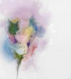 Vita rosor blommar målning i pastellfärgad färg med gul och suddig stil för ljus - rosa färg - royaltyfri illustrationer
