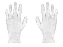 Vita rubber handskar Fotografering för Bildbyråer
