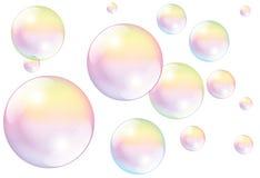 Vita såpbubblor Royaltyfria Bilder