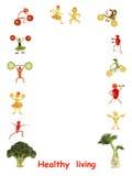 Vita sana Gente divertente piccola fatta delle verdure e della frutta Immagini Stock Libere da Diritti