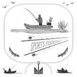 Vita sana nella natura e nella pesca illustrazione vettoriale