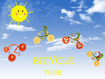 Vita sana, percorso in bicicletta Dieta ed alimento Fotografia Stock Libera da Diritti