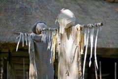 vita scarecrows Arkivbild
