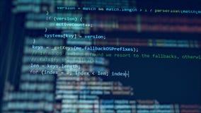 Vita siffror flyttar sig på en skärm som skapar en kod stock video